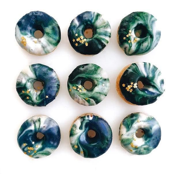 Cold weather cure: hydrating masks and these mermaid doughnuts by @thejenproject 💙💚💙💚💙