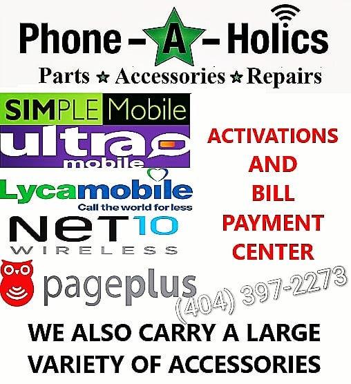 Multi-Carrier Shop #simplemobile #ultramobile #lycamobile #net10 #pageplus #gosmart #cellphoneaccessories #cellphonerepair #phonerepair #ipadrepair #tabletrepair #phoneaholics #norcross #jimmycarter #atlanta #georgia