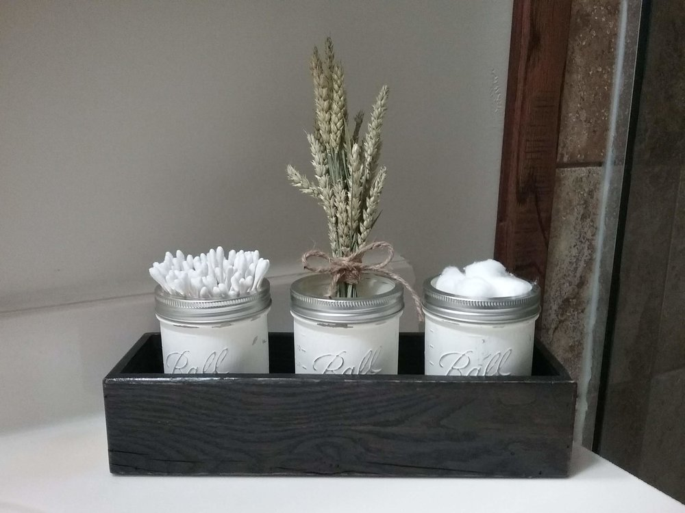 Distressed mason Jar center piece - We sell our large boxes for $30 and smaller boxes for $26. Distressed mason jars are $6.50 for pint and $8.50 for quart.