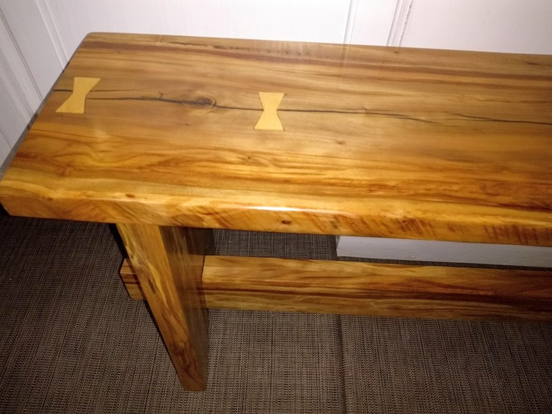Reclaimed Spalted Pecan bench - Beautiful coloring in this piece of reclaimed wood. $475 This is a one of a kind.
