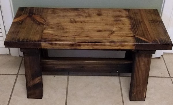 "Rustic Entry Bench - This short bench is great for a mud room or entry way. This bench is aged as well as burned (Shou-sugi-ban technique). Dimensions are 13"" deep x 30"" long x 16"" tall. $125"