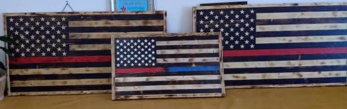 Rustic burnt American flags - Show your support for America and our first responders. Great addition to any office, den, man cave or patio. Small for $75 and large for $150. Email for more information.