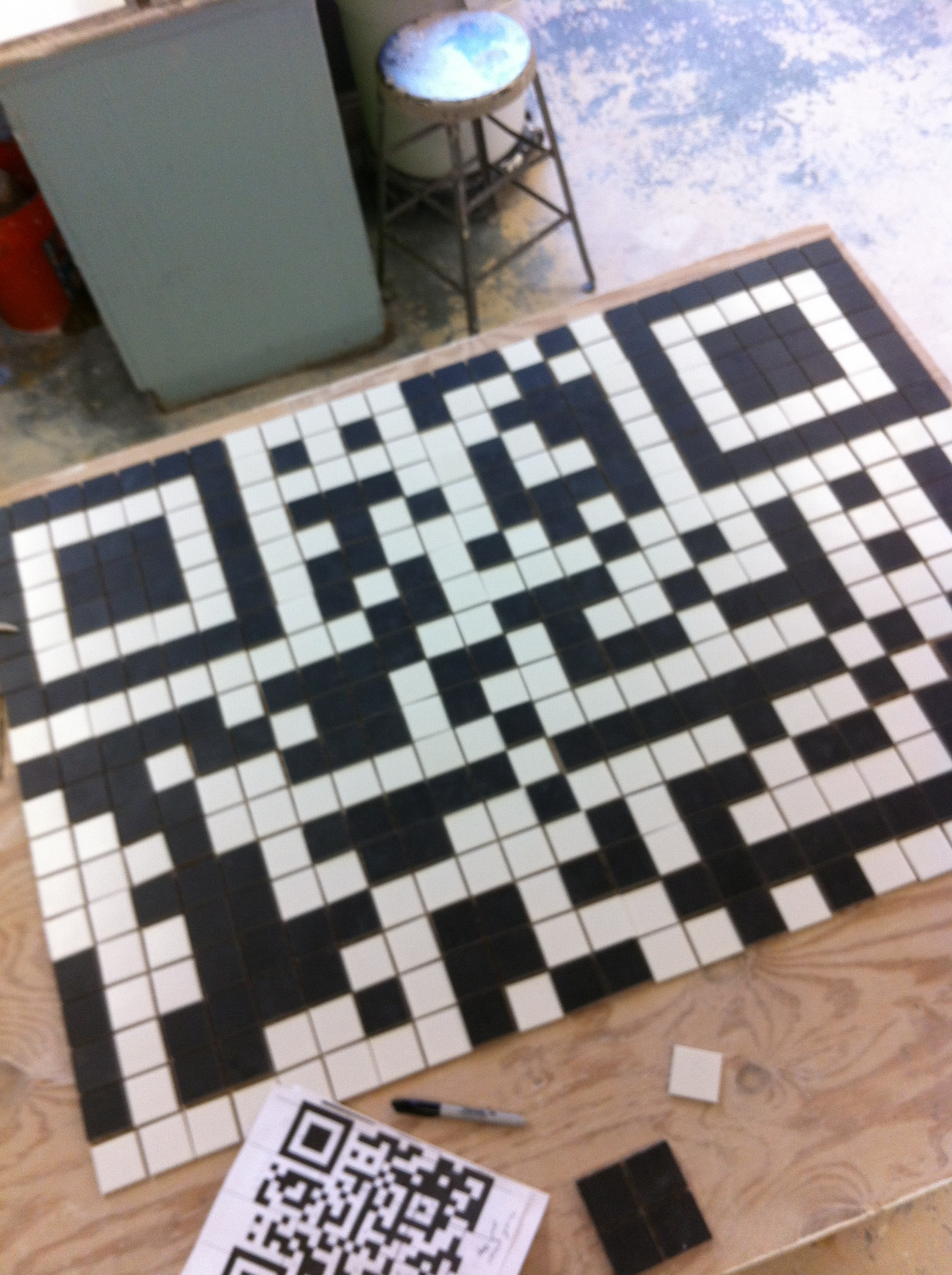 the initial layout process for my QR code