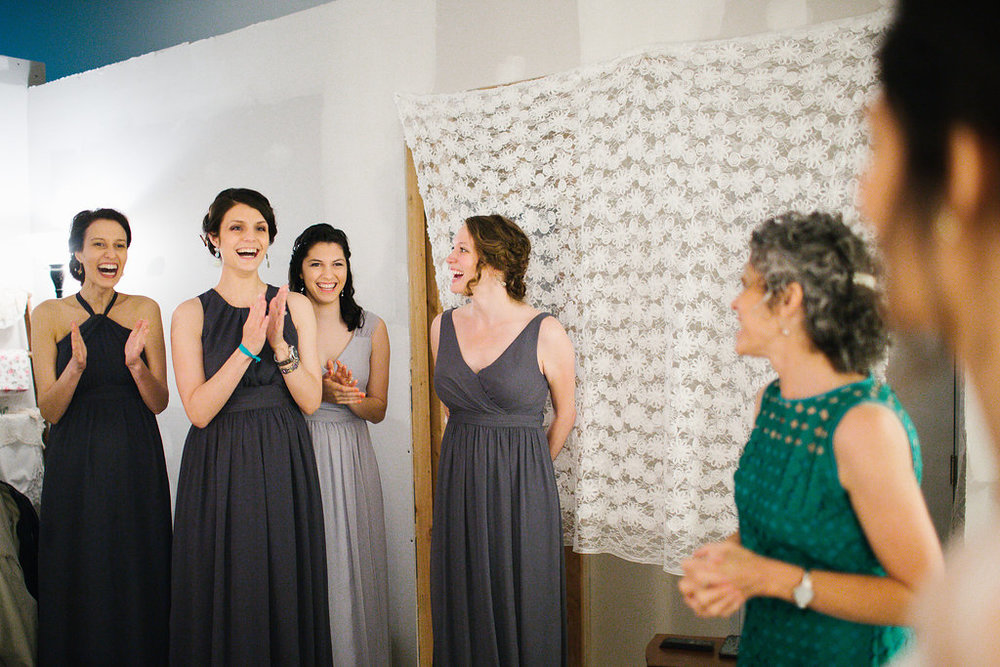 Some of my bridesmaids' reactions to me in my wedding dress. If I cheered for myself like this every day, I think I would dwell more on the positive, not the negative, and be encouraged to keep on going.