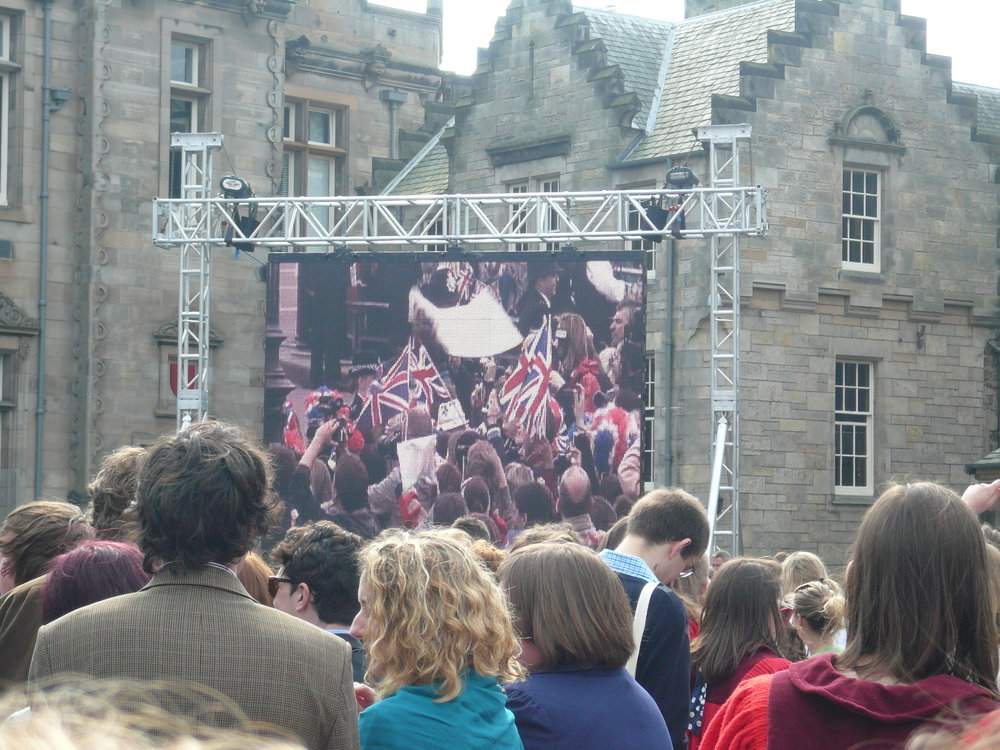 St Andrews students watching live footage of the royal wedding in April 2011