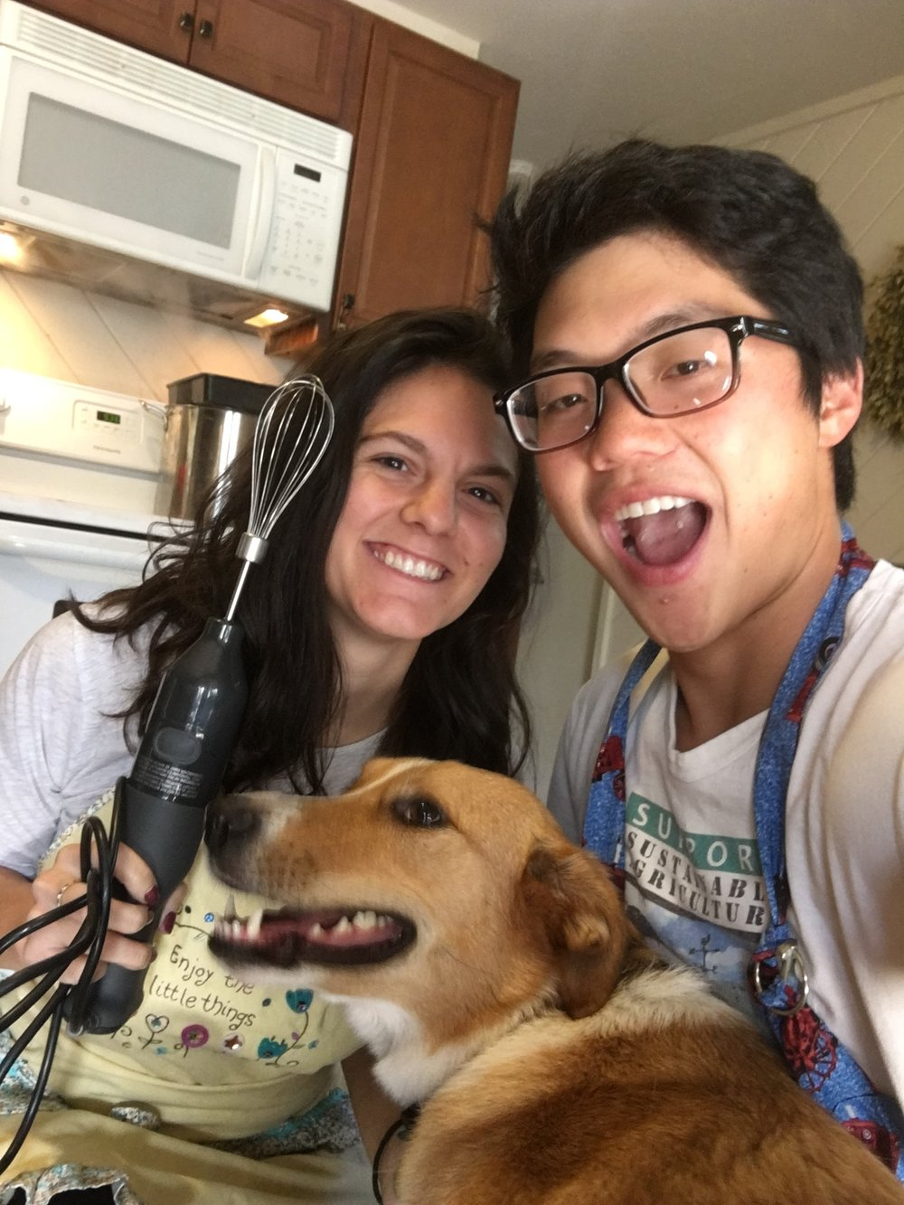 Gracie helping us bake cookies! Us learning that selfies with 2 people plus a dog is hard.