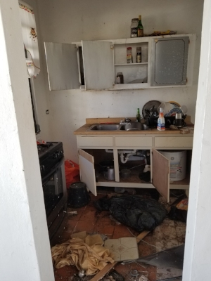 The kitchen before the muck and gut.