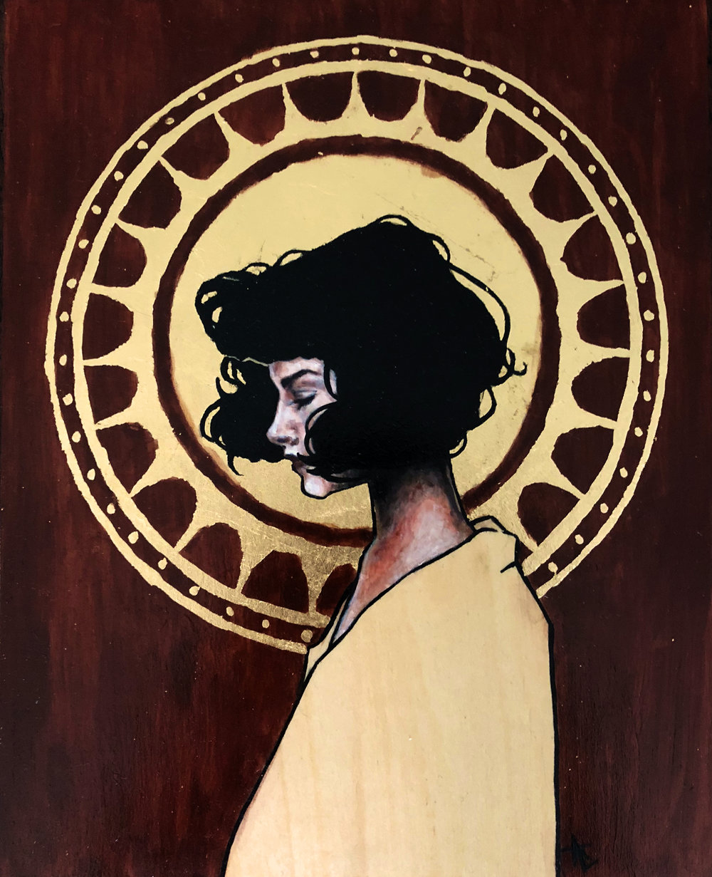 Gilded Daydream . acrylic, graphite, gold leaf on wood panel