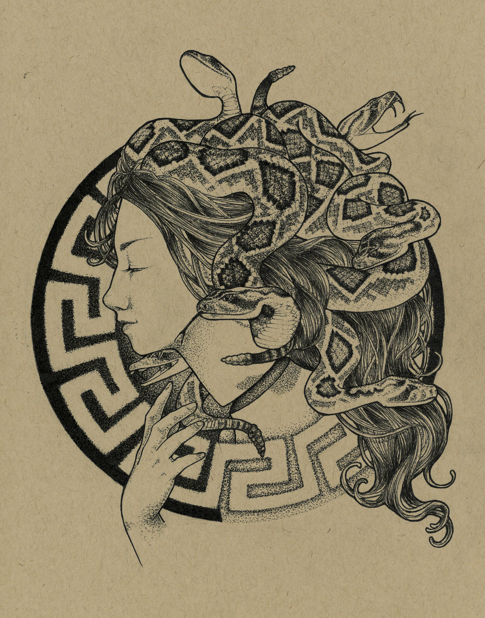 The Gorgoneion . ink on toned paper