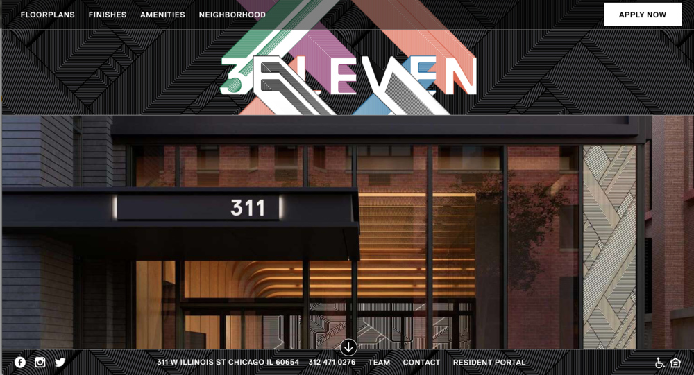 3eleven apartment complex debuts   My web copy for 3eleven in Chicago's hip River North neighborhood zeroes in on design that puts everything at your fingertips.