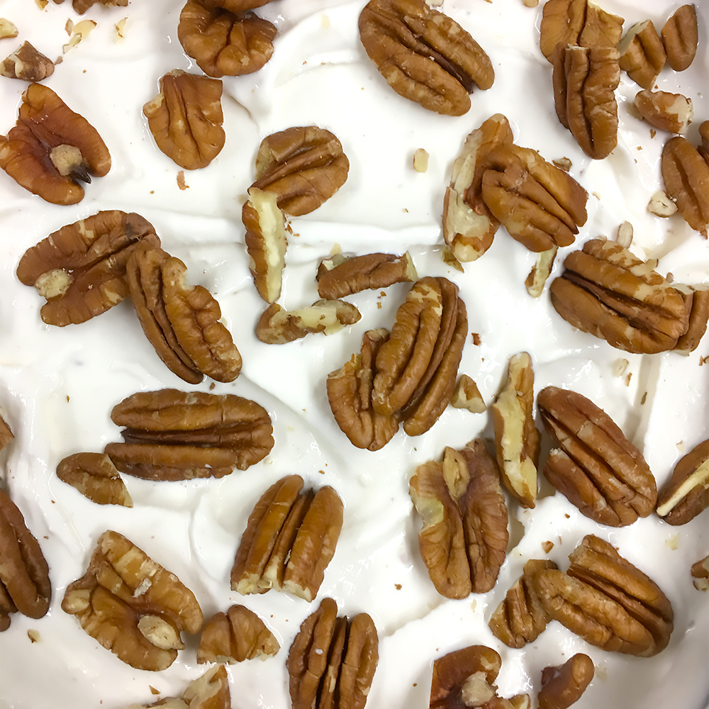 Vanilla Pecan   Pecan butter in our Madagascan vanilla bean with candied pecans caramelized with brown sugar & toasted in sea salt.   (GF)