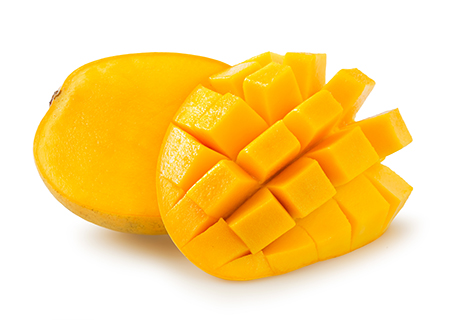 Mango   Tropical mango, pureed and blended our Madagascan vanilla bean base. Also available as a dairy free sorbet.   (NF, GF)