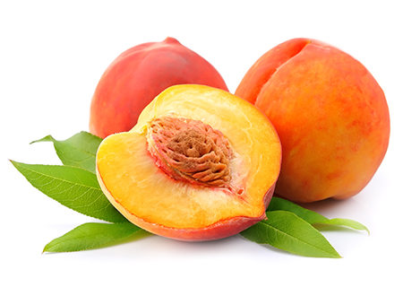 Peach    Juicy peaches pureed and blended in our Madagascan vanilla bean base. Also available as a dairy free sorbet.   (NF, GF)