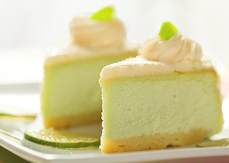 Key Lime Pie   Two key lime pies in every batch! Tart key lime juice and crumbled graham cracker crust in sweet cream base.   (NF)