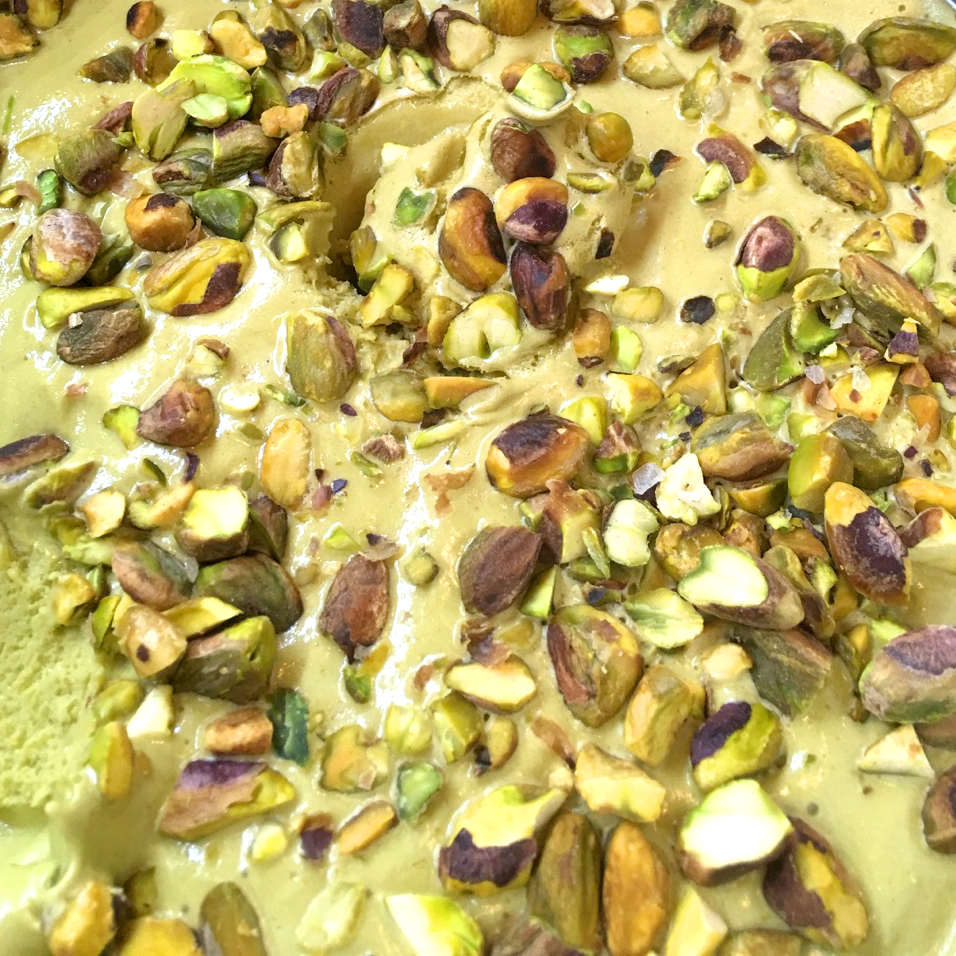 Pistachio Gelato - Pistachio butter in our Madagascan vanilla bean base, with pan roasted pistachios & Himalayan sea salt.(Gluten Free)