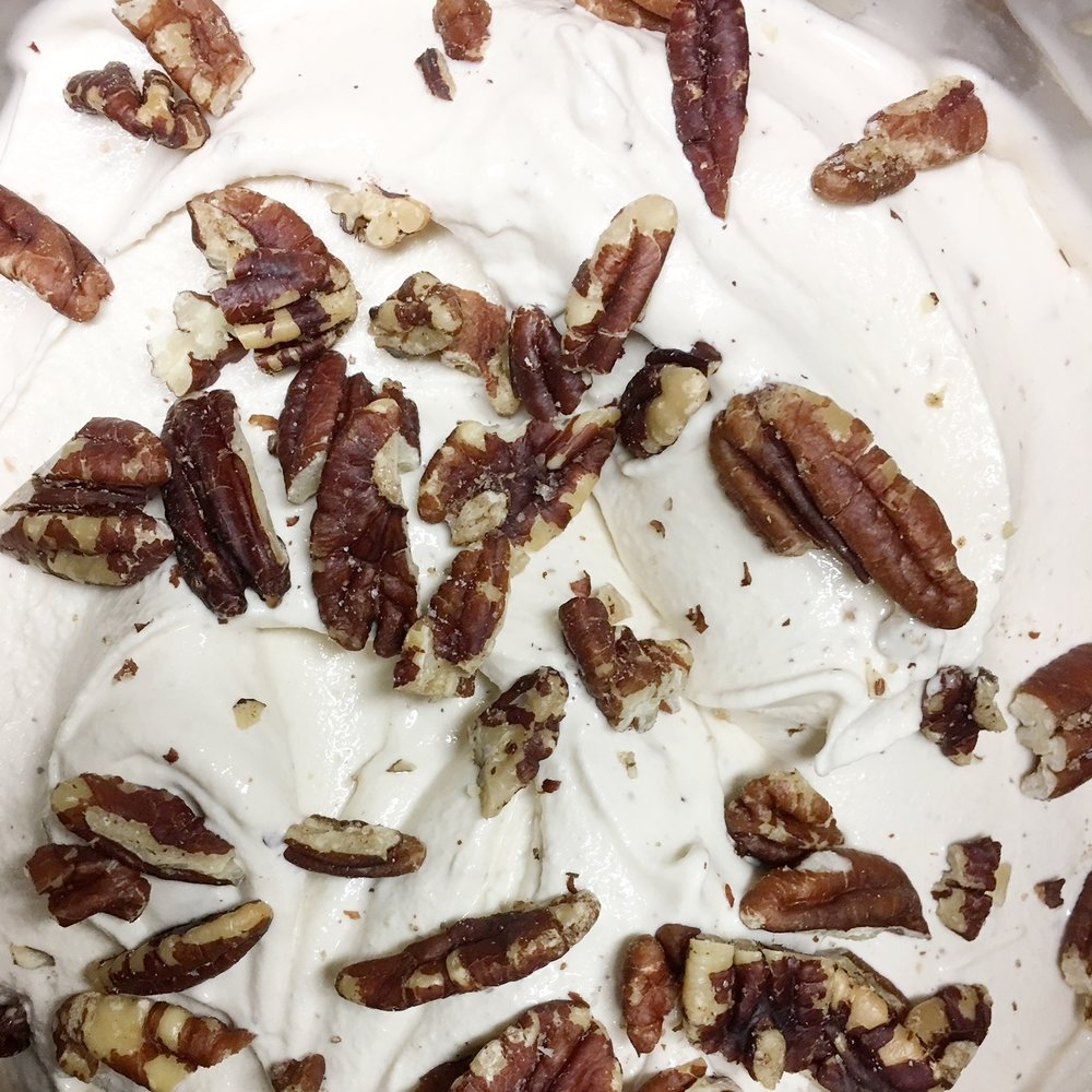 Local Honey Pecan    Locally sourced honey & in-house roasted pecans blended into a honey vanilla bean base.