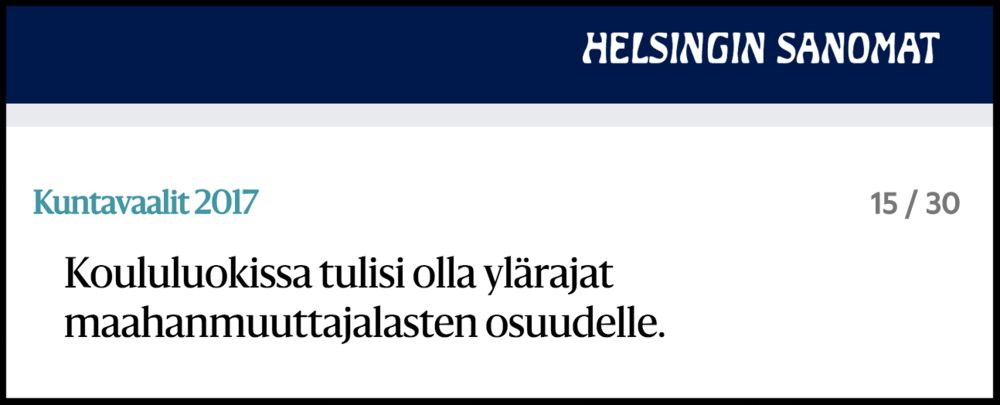 Kysymys Helsingin Sanomien vaalikoneessa Kuntavaaleissa 2017.