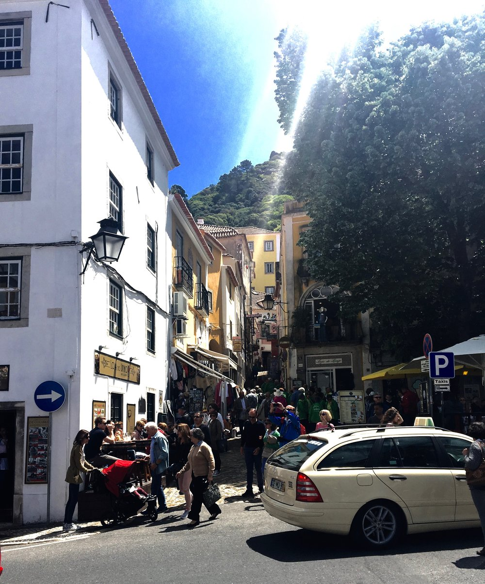 Busy shops in Sintra, Portugal.  @lovethealchemist