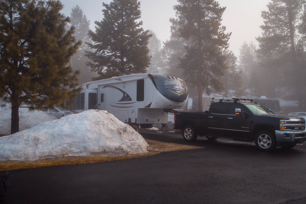 Easy pull -through at McCall RV Resort (the first time TheBeast has been in snow!)