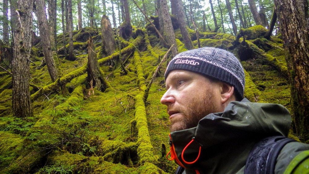 Selfie in the rainforest outside Cordova, Alaska