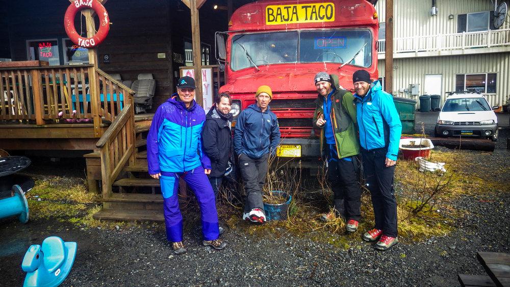 The group outside of Baja Taco in Cordova, Alaska
