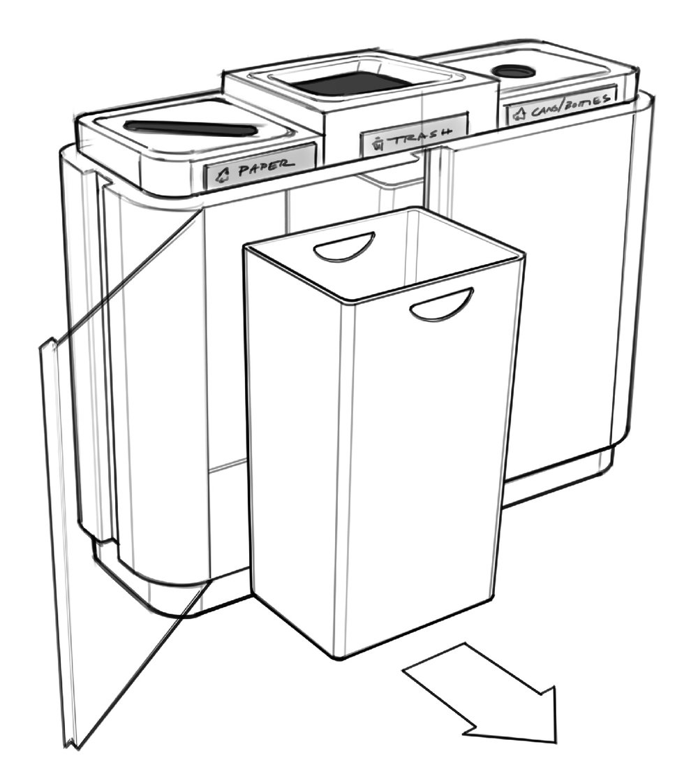 Illustration of Waste Receptacle liner removal
