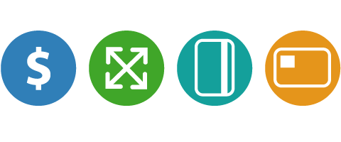Icons for cash, epass, credit and swipe represent the four payment options for the Fast Fare Revolutionary Farebox