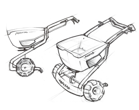 sketch of Agri-Fab Spreader concept with a large hopper and exposed tube frame