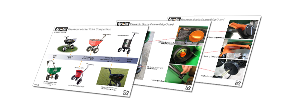 market research boards on existing lawncare equipm