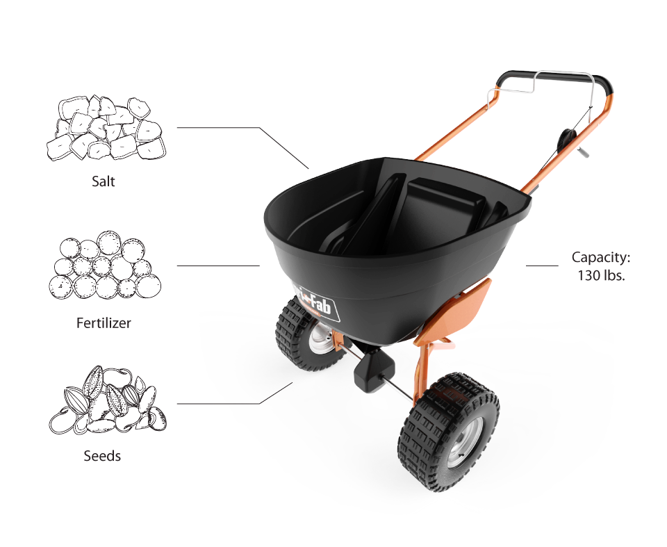 The Agri-Fab Spreader is a versatile tool that can be used with salt, fertilizer or seeds