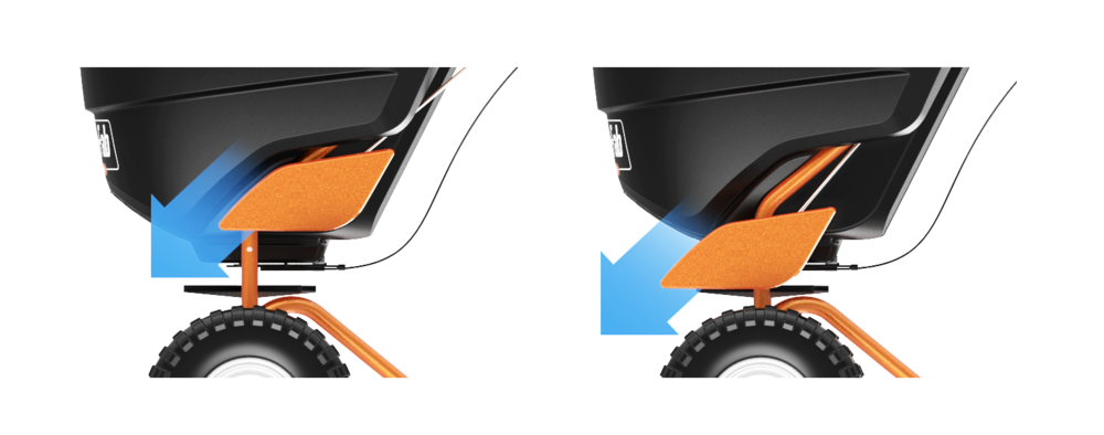 arrows highlight the easy-set flow control on the Agri-Fab Broadcast Spreader