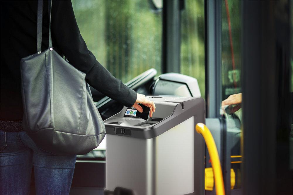 women using Fast Fare Revolutionary Farebox on bus