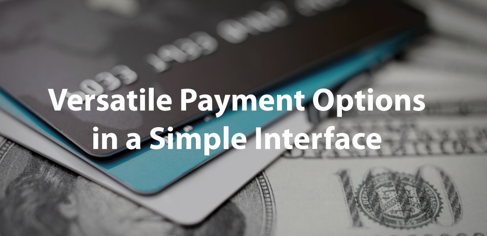 versatile payment options in a simple interface