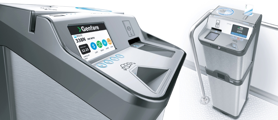 detailed close up and top view of Genfare's Fast Fare Revolutionary Farebox