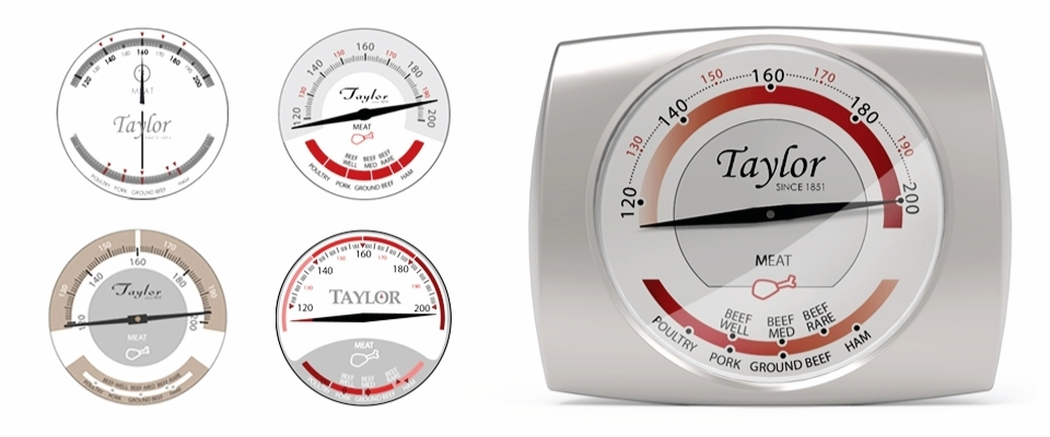 five graphic layout concepts for the Taylor Gourmet Thermometer with the final design shown on the face of the thermometer