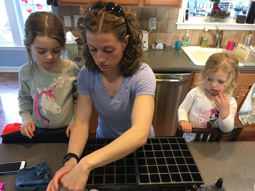 Planting vegetable seeds with the kids!