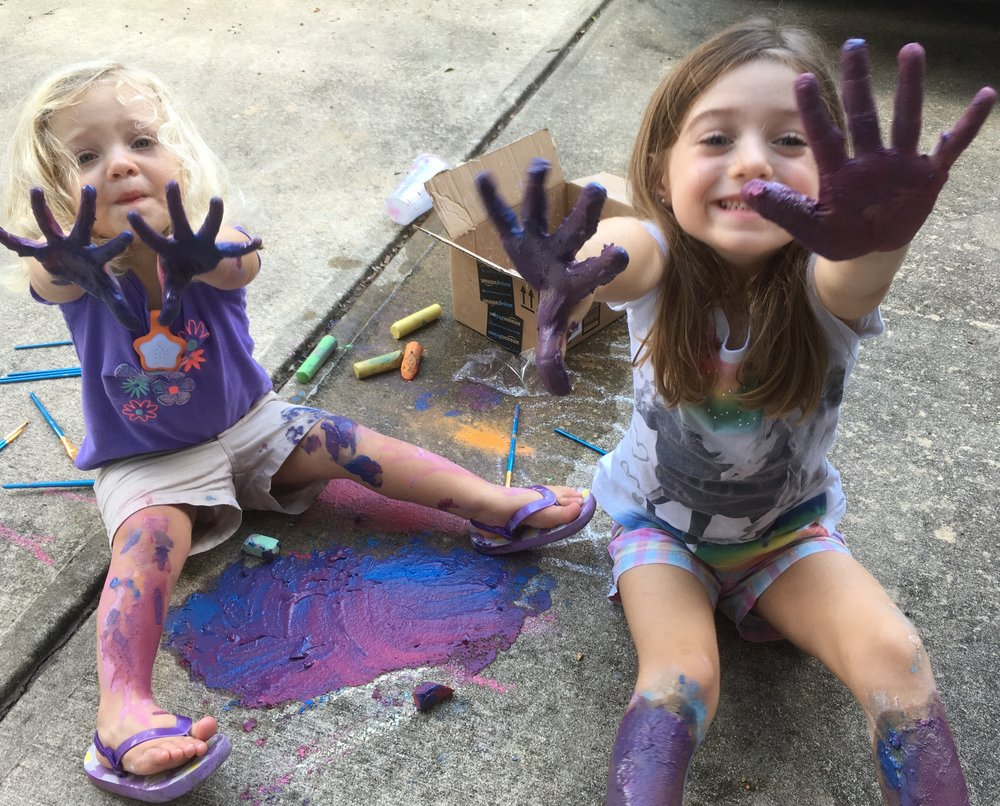 Olivia & Caroline love to get creative and messy