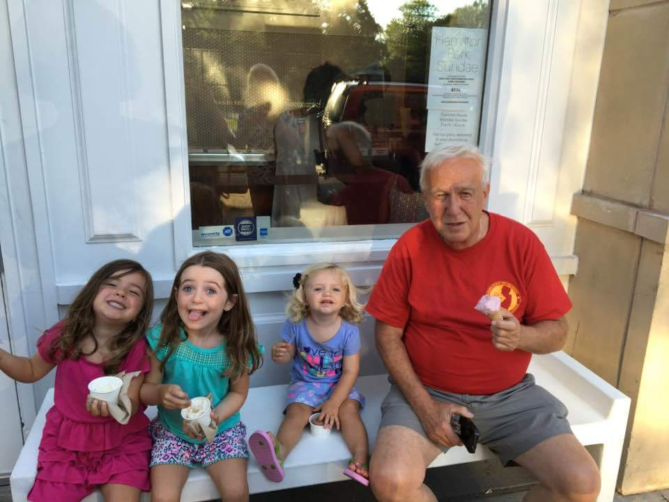 Ice cream with grandpa and cousin Lily