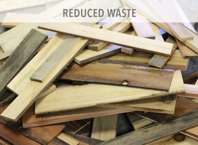 We use 76% recycled steel and the overall recycling rate in the steel industry is 75% making it the most recycled material in North America. There is typically only 2% waste using steel versus 20% with wood buildings.
