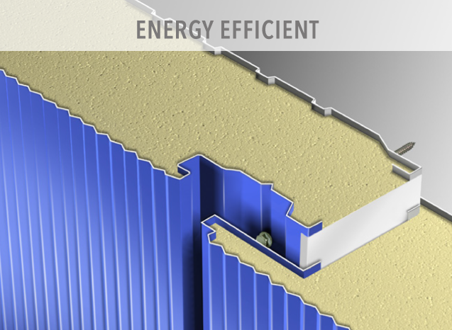 Our frames and steel insulated panels meet or exceed governmental energy-efficiency standards. The tongue and groove design creates a continuous, insulated cocoon, preventing the air leaks that result in costly energy loss.