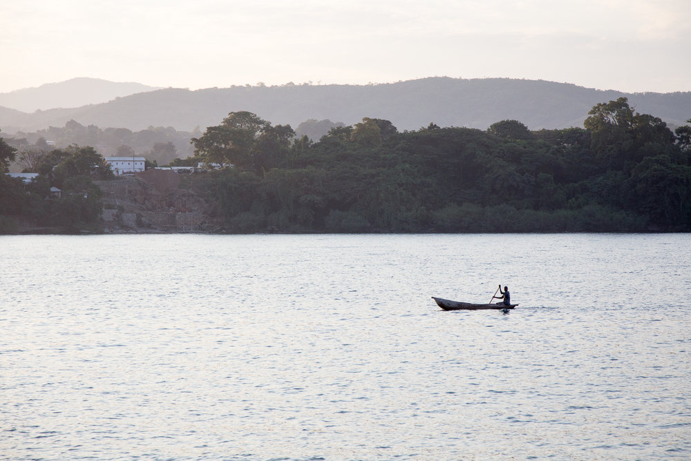 Wooden dugout canoes are a common sight on Lake Malawi.