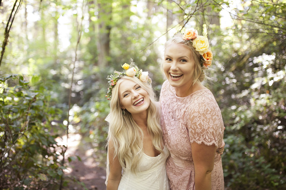"Photography: Chrisy Dorsey Photography | Floral Design: Sauvage Fleur (Our Bride""s crown is slightly tweaked here, but all was perfect when she walked down the aisle! I love sweet sister pictures!)"