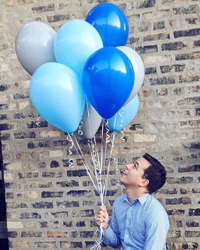 A blue and gray balloon bouquet, To get you through this gloomy day!
