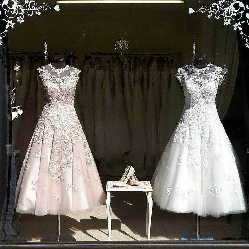 dresses in shop window