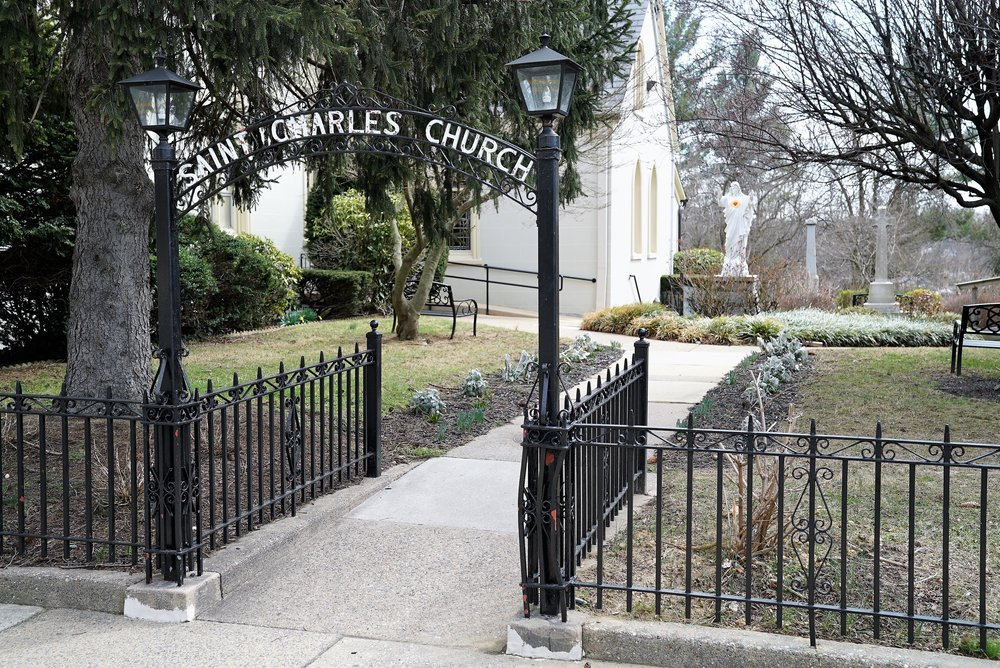 An entrance to the Saint Charles Borromeo Catholic Church Cemetery, Drexel Hill, Pennsylvania.
