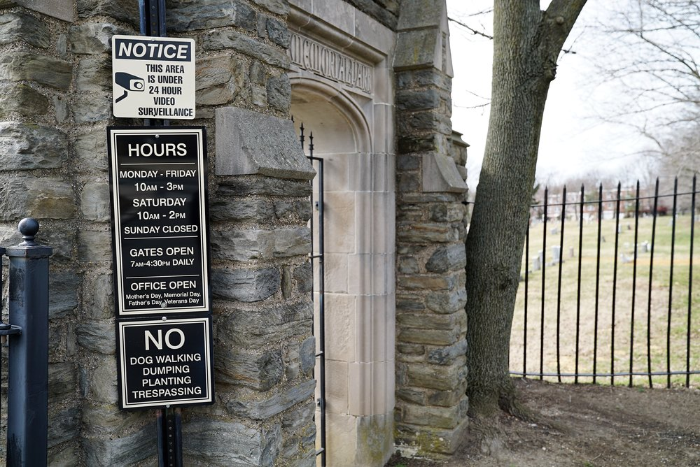 Eden Cemetery, Collingdale, Pennsylvania. The signage at the front gate is a little confusing.