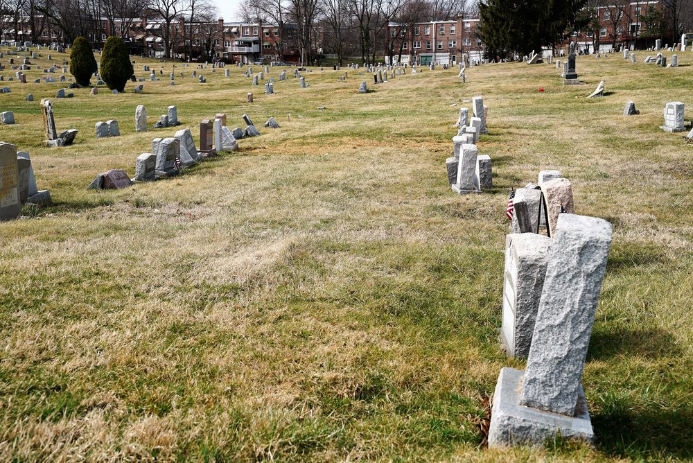 Eden Cemetery. Collingdale, Pennsylvania. Foundation prices are high here, yet some of the headstones are leaning.