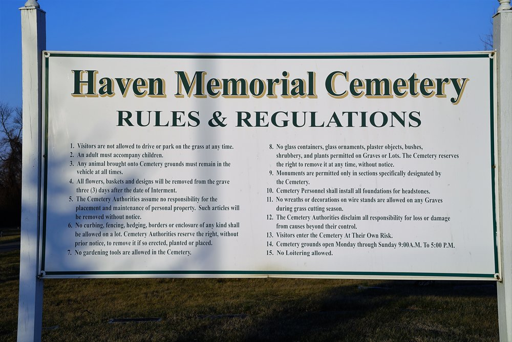 "Photo of ""rules and regulations"" at Haven Memorial Cemetery, Chester Township, Pennsylvania."