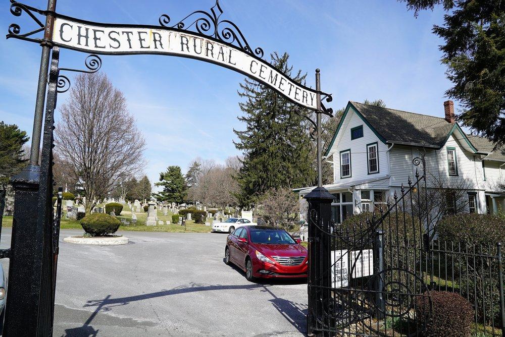 Main entrance to Chester Rural Cemetery, Chester, Pennsylvania.