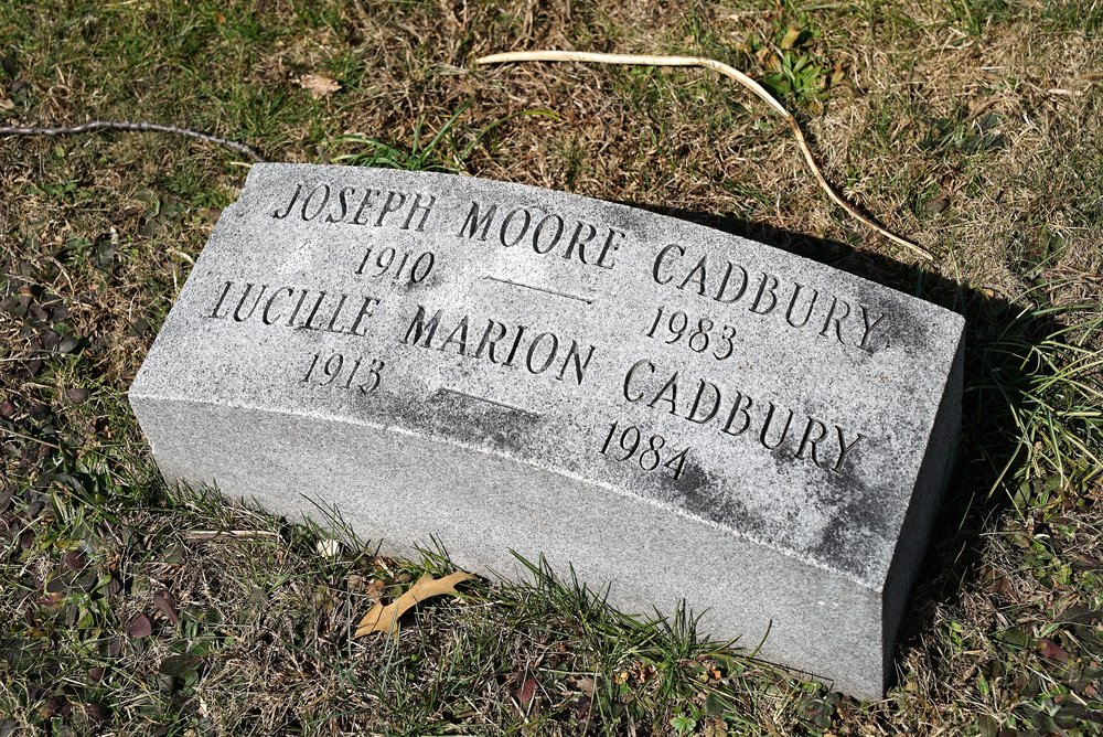 """Example of a """"Quaker style"""" hickey marker. They are plain, small, feature minimal information, and are close to the ground. More elaborate headstones are not permitted at Friends Southwestern Burial Ground."""
